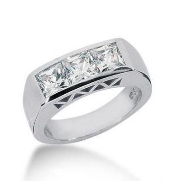 14K Gold Diamond Anniversary Wedding Ring 3 Princess Cut Stones Total 1.50ctw 639WR242114k