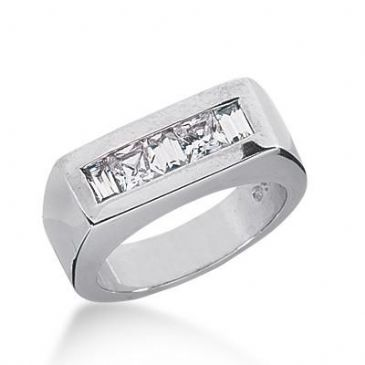 14K Gold Diamond Anniversary Wedding Ring 2 Princess Cut Diamonds, and 3 Straight Baguette Total 0.80ctw 641WR242314k