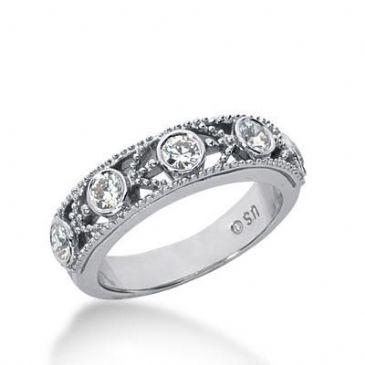 14K Gold Diamond Anniversary Wedding Ring 5 Round Brilliant Diamonds Total 0.50ctw 645WR243014k