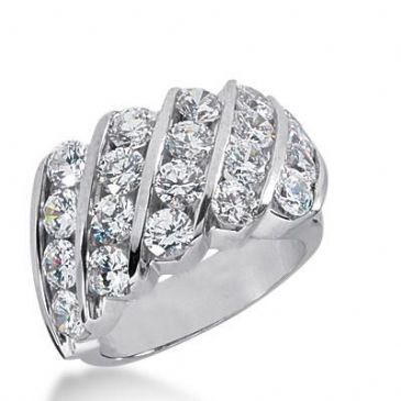 14K Gold Diamond Anniversary Wedding Ring 20 Round Brilliant Diamonds Total 3.60ctw 646WR243214k