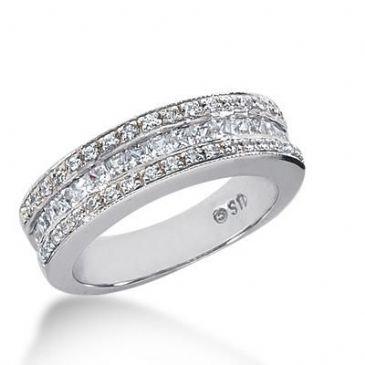 14K Gold Diamond Anniversary Wedding Ring 17 Princess Cut 0.04 ct 34 Round Brilliant Diamonds Total 0.94ctw 647WR243314K