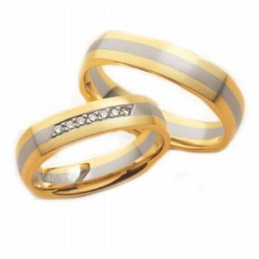 14k His & Hers Two Tone Gold 0.21 ct Diamond 089 Wedding Band Set HH08914K