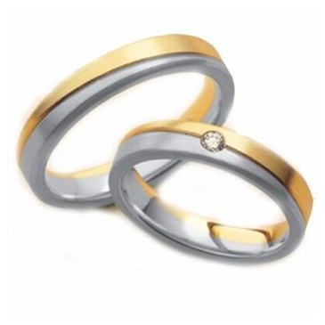 14k His & Hers Two Tone Gold 0.05 ct Diamond 090 Wedding Band Set HH09014K