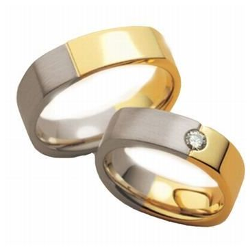 14k His & Hers Two Tone Gold 0.10 ct Diamond 091 Wedding Band Set HH09114K