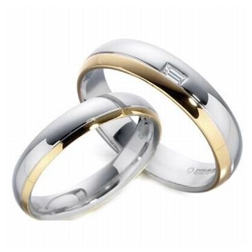 14k His & Hers Two Tone Gold 0.10 ct Diamond 093 Wedding Band Set HH09314K