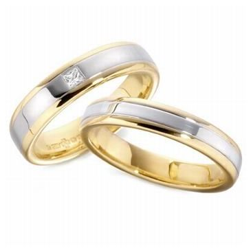 14k His & Hers Two Tone Gold 0.07 ct Diamond 092 Wedding Band Set HH09214K