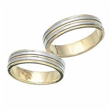 14k His & Hers Two Tone Gold 103 Wedding Band Set HH10314K