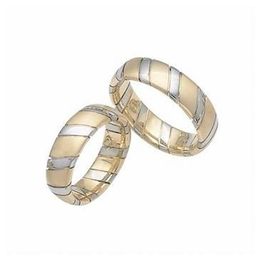 14k His & Hers Two Tone Gold 105 Wedding Band Set HH10514K