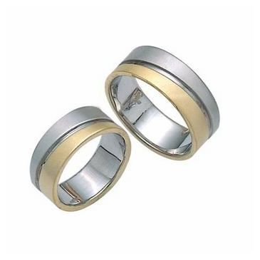 14k His & Hers Two Tone Gold 110 Wedding Band Set HH11014K