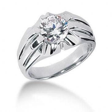 Men's 14K Gold Diamond Ring 1 Round Stone 1.50 ctw 10314-MDR1025