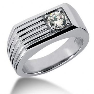 Men's 14K Gold Diamond Ring 1 Round Stone 11314-MDR289