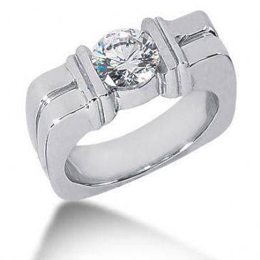 Men's Diamond Ring 1 Round Stone 1.50 ctw 129-MDR1322