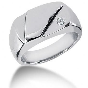Men's Diamond Ring 1 Round Stone 0.07 ct 130-MDR1020