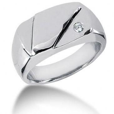 Men's Diamond Ring 1 Round Stone 0.07 ct 130-MDR1020