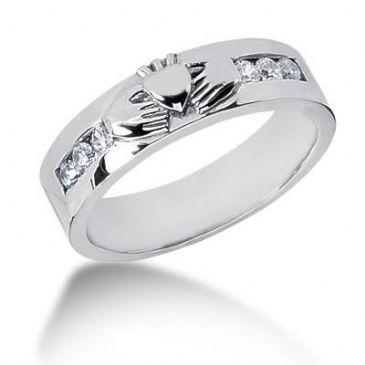Men's Diamond Irish Claddagh Ring 6 Round Stone 0.05 ct Total 0.30 ctw 133-MDR1233