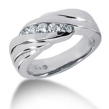 Men's Diamond Ring 1 Round Stone 0.09 ct 2 Round Stone 0.07 ct 2 Round Stone 0.03 ct 2 Round Stone 0.025 ct Total 0.34 ctw 139-MDR1192