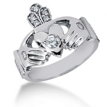 Men's Diamond Irish Claddagh Ring 1 Round Stone 0.15 ct 2 Round Stone 0.06 ct 5 Round Stone 0.015 ct Total 0.35 ctw 142-MDR1194
