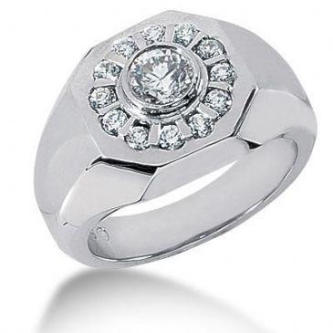 Men's Diamond Ring 1 Round Stone 0.60 ctw 12 Round Stone 0.03 ctw Total 0.96 ctw 150-MDR1158