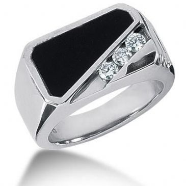 Men's Diamond & Onyx Ring 3 Round Stone 0.10 ct Total 0.00 ctw 151-MDR169