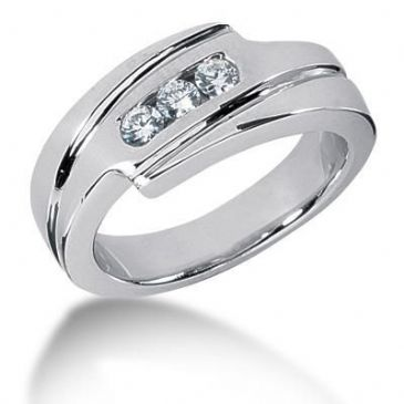 Men's Diamond Ring 3 Round Stone 0.10 ct Total 0.30 ctw 155-MDR1228