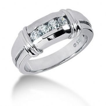 Men's Diamond Ring 4 Round Stone 0.10 ct Total 0.40 ctw 157-MDR1314