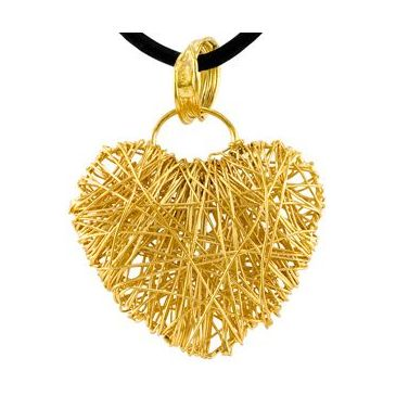 14k Yellow Gold Almani Design Heart Shaped Love Pendant