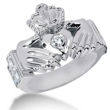 Men's Diamond Irish Claddagh Ring 1 Round Stone 0.15 ct 161-MDR1222