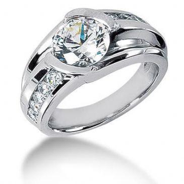 Men's Diamond Ring 1 Round Stone 2.50 ct 2 Round Stone 0.06 ct 6 Round Stone 0.05 ct 2 Round Stone 0.02 ct Total 2.96 ctw 162-MDR1335