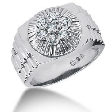 Men's Diamond Ring 1 Round Stone 0.10 ct 6 Round Stone 0.07 ct Total 0.52 ctw 163-MDR1144