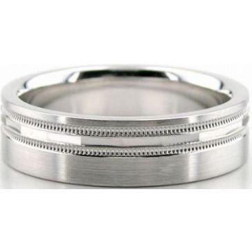 18K Gold 6mm Diamond Cut Wedding Band 628