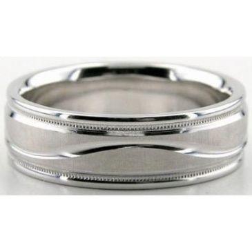 18K Gold 6.5mm Diamond Cut Wedding Band 622