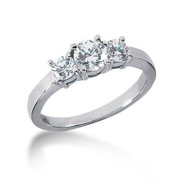 14K Diamond Engagement Ring 3 Round Stones Total 0.90 ctw. 1000-ENG314K-2420
