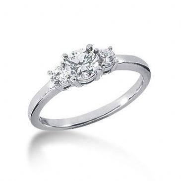 Platinum Diamond Engagement Ring 3 Round Total 0.70 ctw.