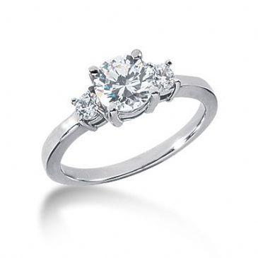 Platinum Diamond Engagement Ring 3 Round Total 1.20 ctw 1002