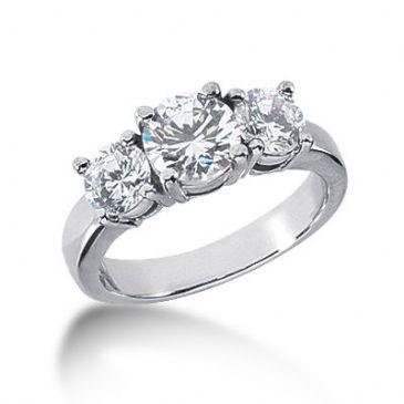 14K Diamond Engagement Ring 3 Round Stones Total 2.00 ctw.