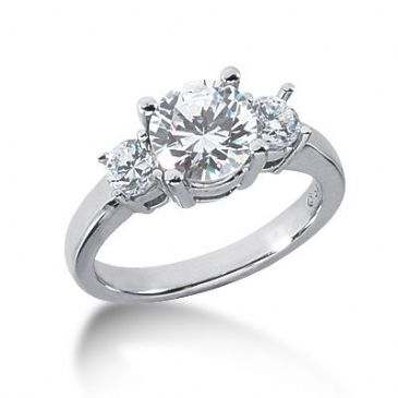 Platinum Diamond Engagement Ring 3 Round Total 2.00ctw. 1004
