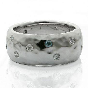 18K Gold 10mm Diamond Wedding Band Rings 1966