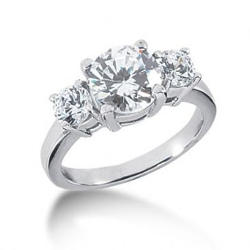 18K Diamond Engagement Ring 3 Round Stones Total 2.70 ctw. 1005-ENG318K-2448
