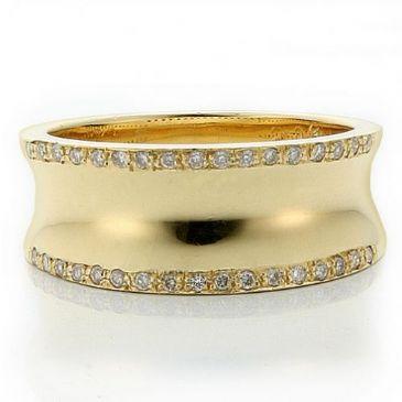 14k Gold 8.5mm Diamond Wedding Bands Rings 1967