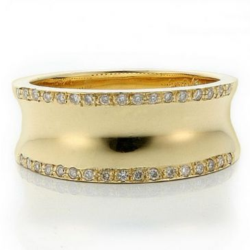 18k Gold 8.5mm Diamond Wedding Bands Rings 1967