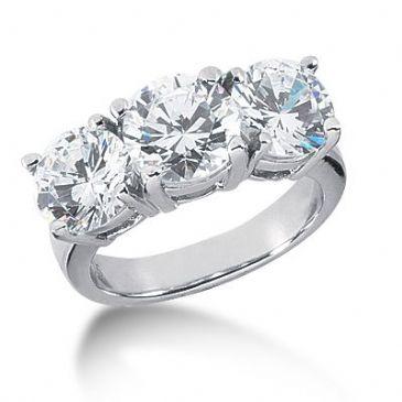 Platinum Diamond Engagement Ring 3 Round Stones Total 5.00 ctw. 1006-ENG3PLT-2452