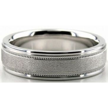 18K Gold 6mm Diamond Cut Wedding Band 653