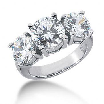 18K Diamond Engagement Ring 3 Round Stones Total 5.50 ctw. 1007-ENG318K-2456
