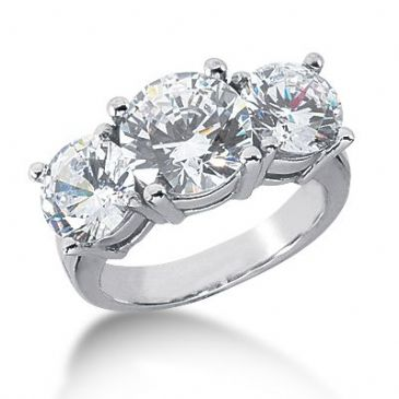 Platinum Diamond Engagement Ring 3 Round Stones Total 6.00 ctw. 1008-ENG3PLT-2460