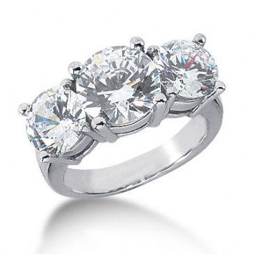 Platinum Diamond Engagement Ring 3 Round Stones Total 6.00 ctw. 1008-ENG3PLT-2460