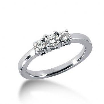 18K Diamond Engagement Ring 3 Round Stones Total 0.40 ctw. 1009-ENG318K-891
