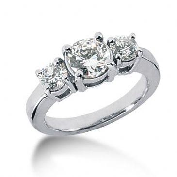 18K Diamond Engagement Ring 3 Round Stones Total 1.95 ctw. 1010-ENG318K-896
