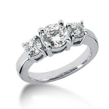 Platinum Diamond Engagement Ring 3 Round Total 1.95ctw. 1010