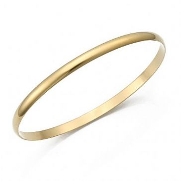 4mm Plain Dome Womens Yellow Gold Bangle