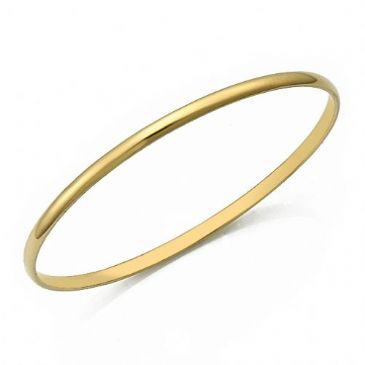 3.5mm Yellow Gold Plain Dome Heavyweight Womens Gold Bangle